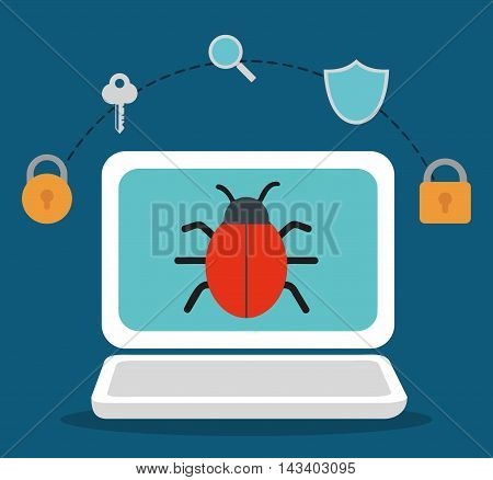 padlock laptop key bug shield lupe cyber security system technology icon. Colorful and flat design. Vector illustration