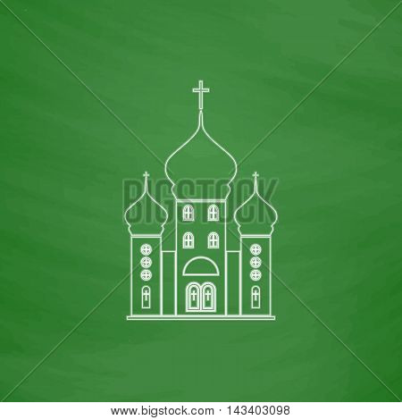 Church Outline vector icon. Imitation draw with white chalk on green chalkboard. Flat Pictogram and School board background. Illustration symbol