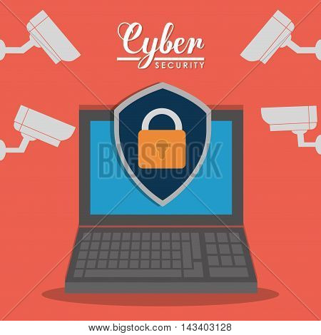 padlock laptop cctv cyber security system technology icon. Colorful and flat design. Vector illustration