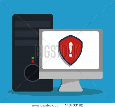 shield computer cyber security system technology icon. Colorful and flat design. Vector illustration