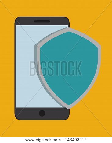 smartphone shield cyber security system technology icon. Colorful and flat design. Vector illustration