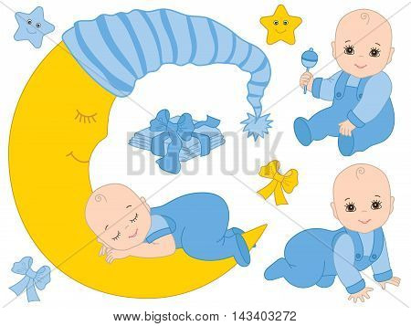 Vector baby boy set with rattle, stars and the moon