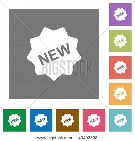 New badge flat icon set on color square background.