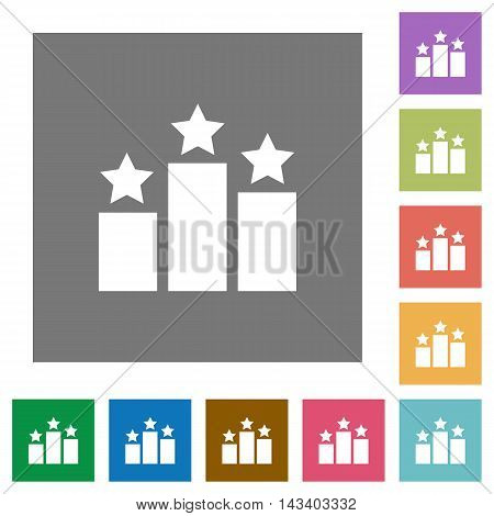 Ranking flat icon set on color square background.