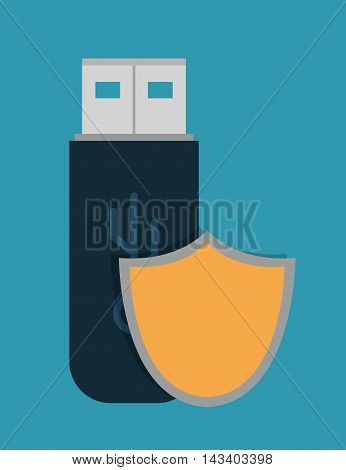 shield usb cyber security system technology icon. Colorful and flat design. Vector illustration
