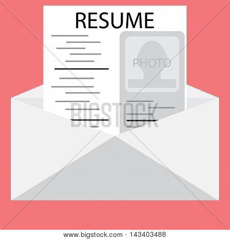 Templates resume in an envelope. Invite to job interview job opportunity vector illustration