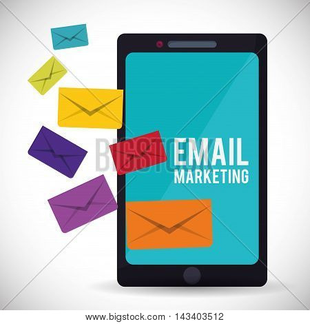 envelope smartphone email marketing send icon. Colorful and flat design. Vector illustration