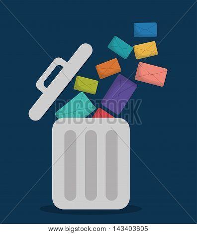 envelope trash email marketing send icon. Colorful and flat design. Vector illustration