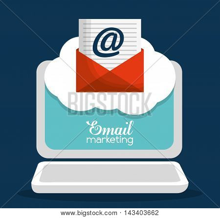 envelope laptop email marketing send icon. Colorful and flat design. Vector illustration