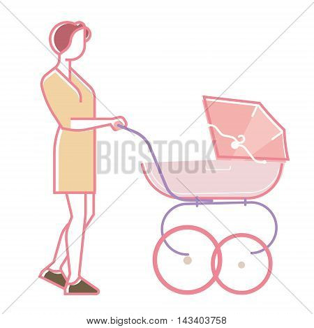 young mother walking with baby in baby carriage