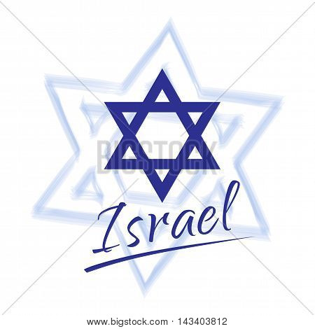 ISRAEL calligraphy lettering. Israel icon, logo, banner. Israel blue star on white background. Israel symbol. Independence Day is the national day of Israel. Vector illustration.