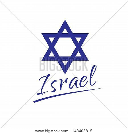Israel calligraphy lettering and Israel blue star isolated on white background. Star of David Israel symbol vector illustration for Independence Day is the national day of Israel.