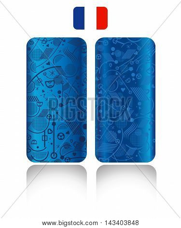 Set of blue soccer patterns and France flag icon. Abstract football background. Vector illustration. European Championship Soccer different lines and shapes geometric poster.