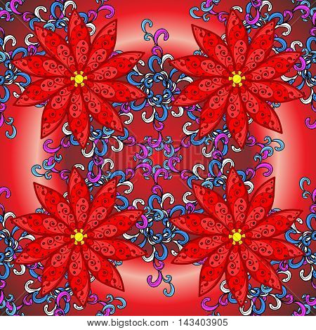 red radial gradient background with vintage filigree floral pattern.