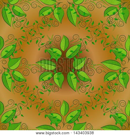 Abstract pattern on yellow background with green leaves elements. Pattern background.