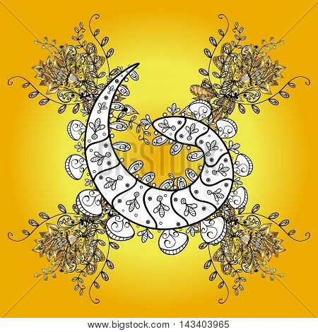 Abstract pattern on yellow background with floral golden and white doodles elements. Pattern background.