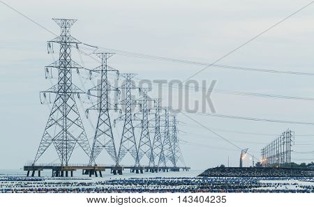 High voltage tower with ragged high-voltage line