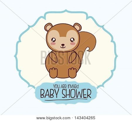 squirrel cute animal cartoon baby shower card icon. Colorful and flat design. Vector illustration