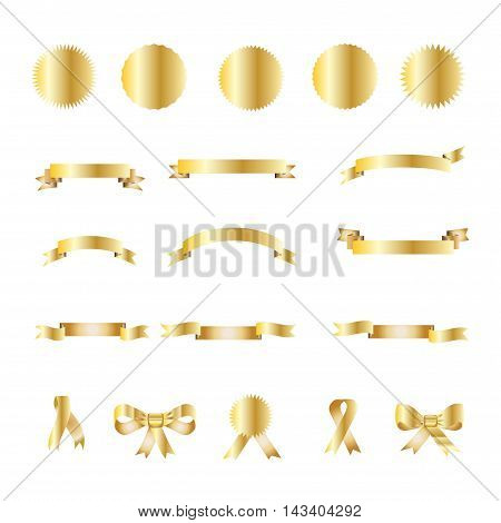 Ribbon. Set of gold festive ribbons, bow tie, ribbon tied, cutting ribbon and stickers. Gold vintage stickers and ribbons, labels isolated on white background. Award vector illustration. Luxury, royal element for Holiday Art, Print, Web design.