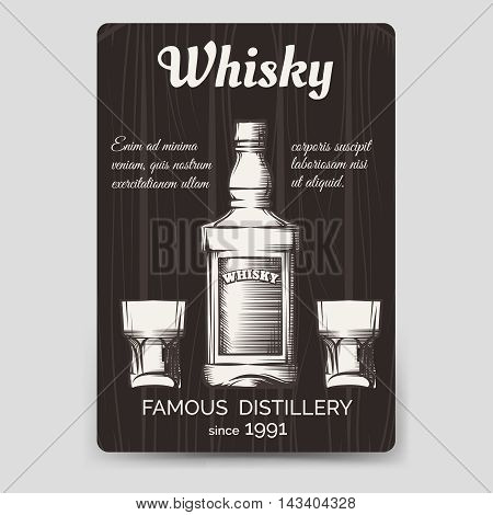 Whisky brochure flyer template vector A6 format