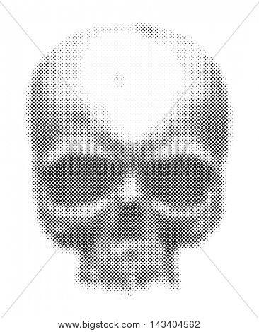 Black and white human skull. Halftone. Jpeg version