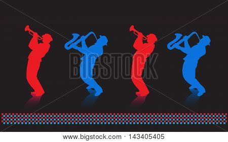 Trumpeter, saxophonist abstract music background. Web page illustration. Red, Blue silhouettes on Black background. Jazz club, Music brochure design.