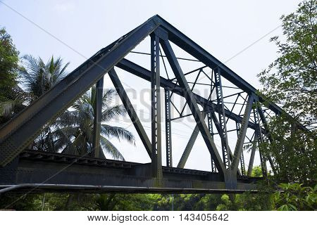 old rail way bridge vintage Metal railway bridge viaduct Lang Suan Chumphon Thailand.