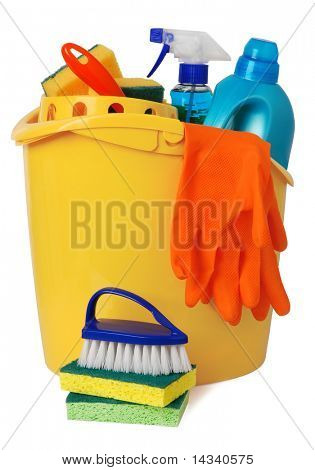 Bucket with cleaning supplies