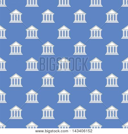 Greek Temple Icon Seamless Pattern on Blue Background.