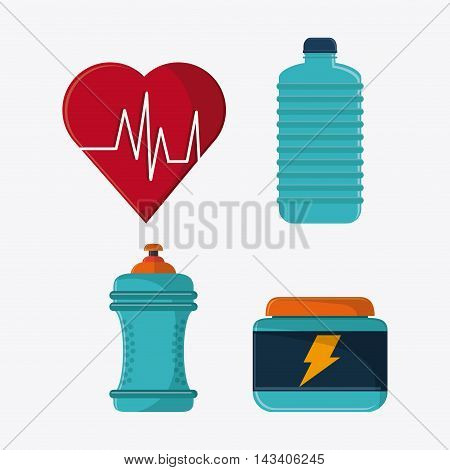 heart bottle protein healthy lifestyle gym fitness icon. Colorful design. Vector illustration