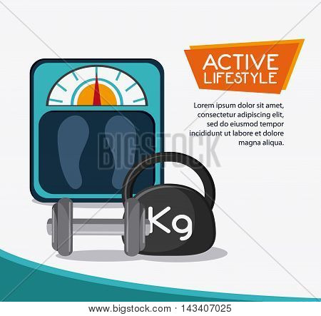 weight scale healthy lifestyle gym fitness icon. Colorful design. Vector illustration