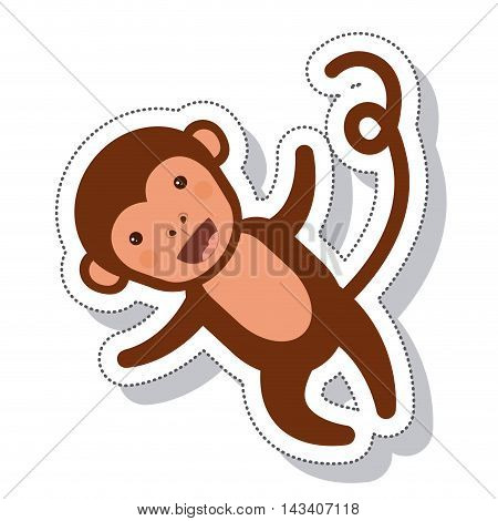 funny monkey isolated icon vector illustration design