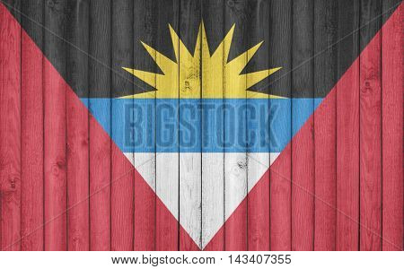 Flag of Antigua Barbuda painted on wooden frame