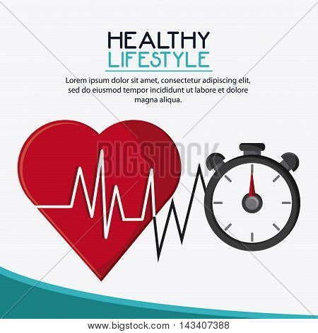 heart chronometer healthy lifestyle gym fitness icon. Colorful design. Vector illustration