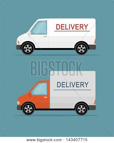 Delivery vans on the blue background.. Flat style vector illustration.
