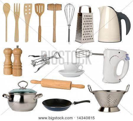 Utensilios de cocina, aislados sobre fondo blanco
