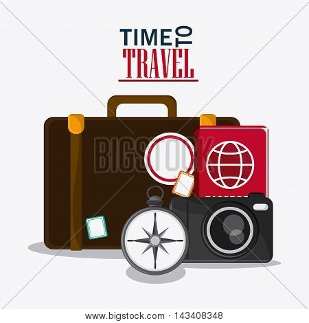 suitcase baggage compass camera passport time travel vacation icon. Corloful and Isolated design. Vector illustration