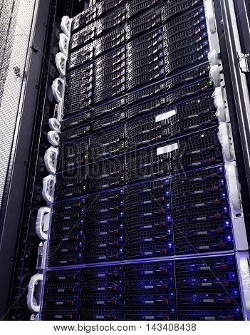 hard drive storage system in modern datacenter.