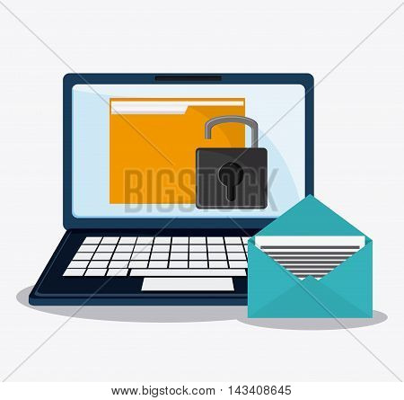 padlock laptop file cyber security system technology icon. Flat design. Vector illustration