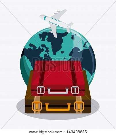 suitcase baggage planet airplane time travel vacation icon. Corloful and Isolated design. Vector illustration