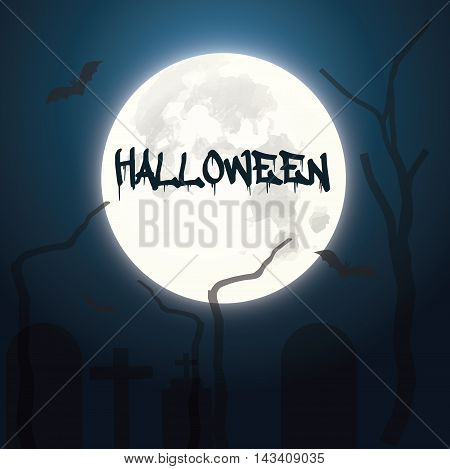 vector illustration of Halloween with a pumpkin head the moon bats and the grim silhouettes