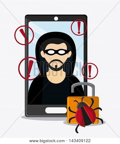 hacker smartphone padlock bug cyber security system technology icon. Flat design. Vector illustration