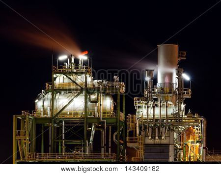 Boiler tanks house on industrial site for production