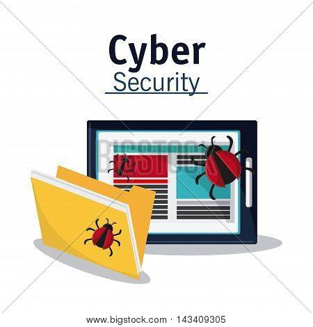 tablet bug file cyber security system technology icon. Flat design. Vector illustration