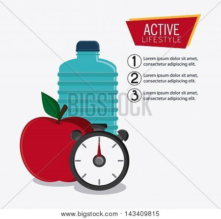water bottle apple chronometer healthy lifestyle gym fitness icon. Colorful design. Vector illustration