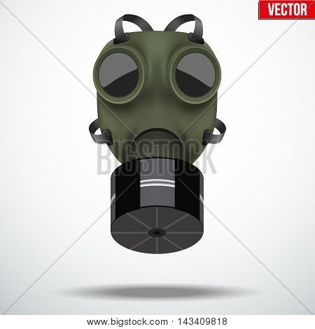 Retro vintage gas mask with one filter. Army symbol WWII. Editable Vector illustration Isolated on white background.