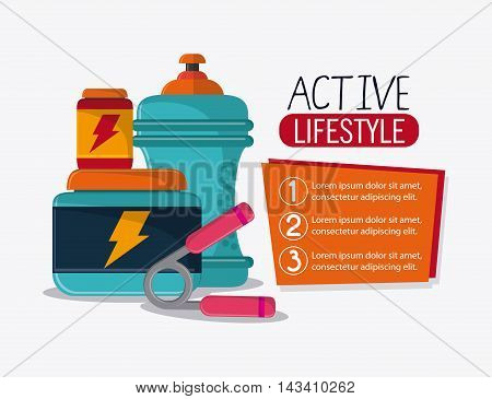 water bottle protein healthy lifestyle gym fitness icon. Colorful design. Vector illustration