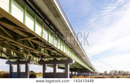 Perspective view of an overpass and sky.