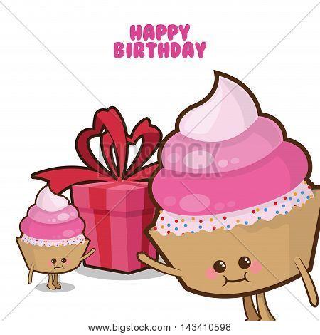 muffin gift cartoon celebration happy birthday icon. Colorful design. Vector illustration