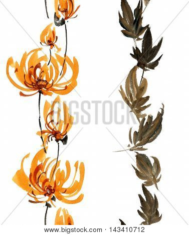 Watercolor and ink illustration of orange flowers buds and leaves. Oriental traditional painting in style sumi-e gohua. Decorative seamless patterns.